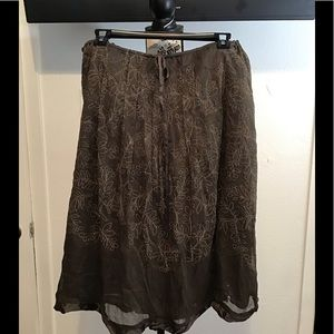 100% Silk CALVIN KLEIN drawstring and lined skirt